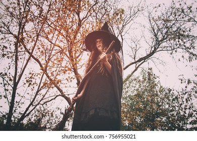 Witch in the Forest. Witch standing with her broom in a rural wooded setting, shot from below.