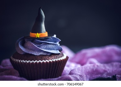 Witch hat cupcake,halloween concept and blank space