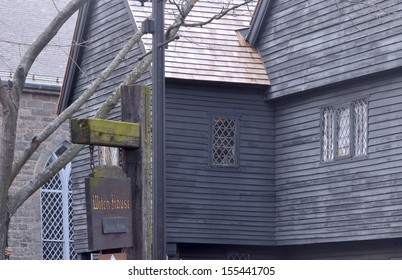 Witch House in Salem, MA, USA - The Judge Jonathan Corwin House: Black old historical house, is the only structure still standing in Salem with direct ties to the Witchcraft Trials of 1692.
