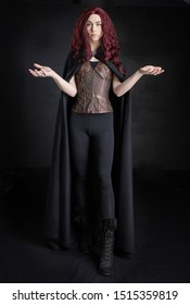 Witch or mythical woman in fantasy-style poses
