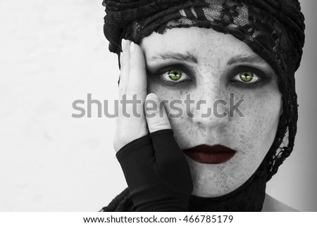 Witch On Coven Halloween Gothic Bride Stock Photo (Edit Now