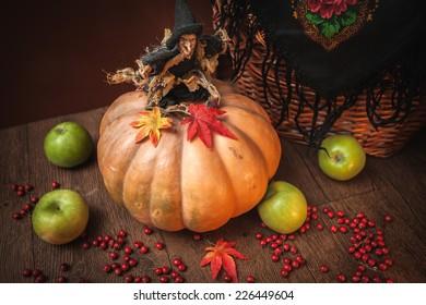 witch pumpkin wicker basket Halloween toy horror czech russian