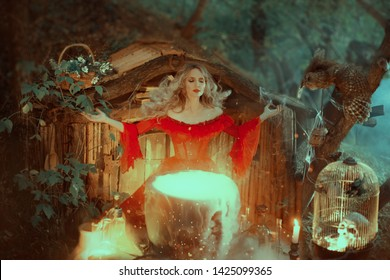 witch in a red dress with bare shoulders of the Baroque era, is preparing a poison. The sorceress calls upon the powers of magic the mentality fills her potion. with a gust of wind her hair flies away