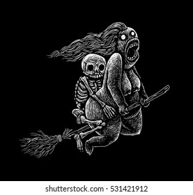 Witch skeleton flying on a broom graphic illustration on a black background