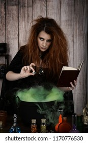 witch with spell book and an eye