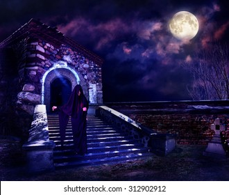 Witch step down in hooded cloak. Halloween horror.