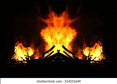 The witch who hides in the fire, unreal view of the feast of San Juan, traditional bonfire,allegory of destruction, fear of punishment, insecurity,visual allegories, visual metaphors,
