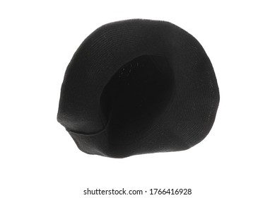 Witch wool hat isolated on white background. Halooween cloth.