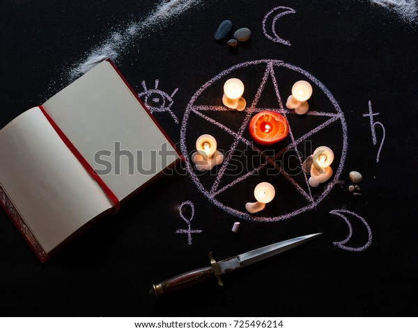 Witchcraft Table Set Spell Book Ritual Stock Photo (Edit Now