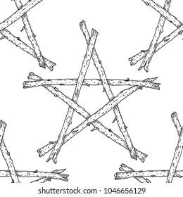 Witchcraft Wicca sticks pentagram seamless pattern, hand drawn magic occult star symbol. Background illustration in black over white.