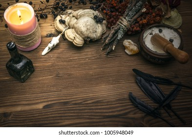 Witchcraft. Witch doctor desk table. Magic potion. ALternative medicine concept.