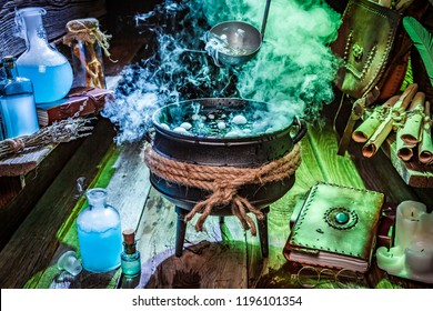 Witcher hut with blue and green smoke for Halloween