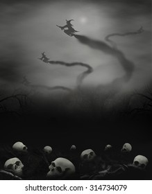 witches fly off skulls