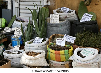 A witches market in Peru featuring Horses Tail, aloe, and other items used for medicinal purpose