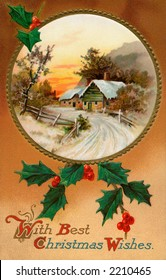 'With Best Christmas Wishes' - a circa 1910 vintage greeting card illustration