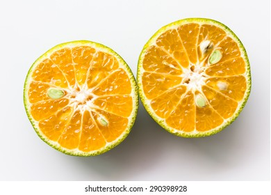 (with clipping path) isolate half orange on white background