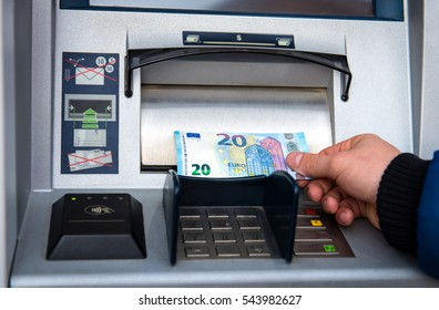 Withdraw money on atm,euro