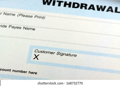 Withdrawal slip from bank checking or savings account