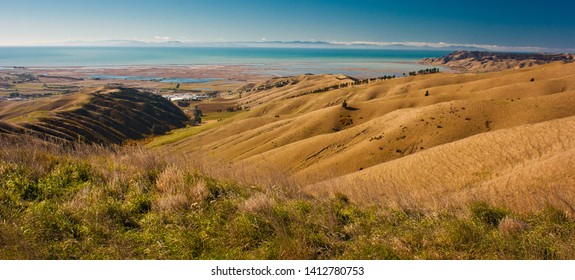 Wither hills around town of Blenheim in New Zealand