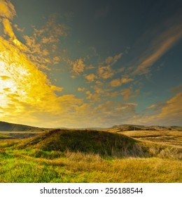 Withered Grass on the Winter Hills of Israel, Sunset, Instagram Effect