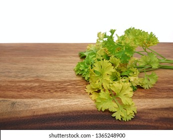 Withered of green to yellow parsley on wooden chopper board isolated on white background