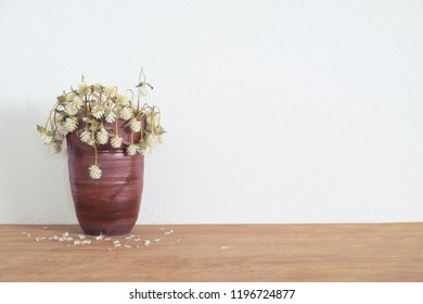 Withered white  flowers in vase on table