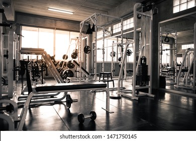 Within gym with modern fitness equipment for fitness events and more. Modern of gym interior with equipment. Sports equipment in the gym. - Shutterstock ID 1471750145