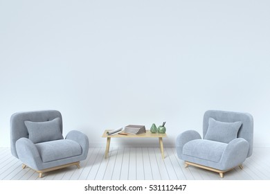 Within the have fabric sofa with pillows and book on a white background wall ,3D rendering