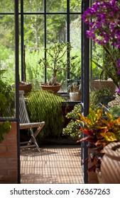 Within a veranda in a garden