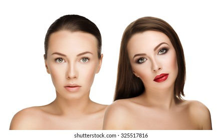with and without makeup comparison portraits beautiful girl, before and after. left clean face nude makeup and right makeup and retouch. Everyday makeup with good young skin