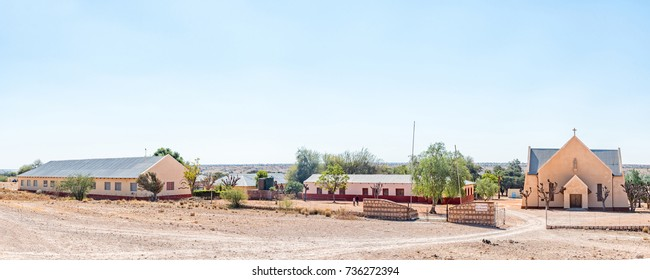 WITKRANS, NAMIBIA - JULY 5, 2017: Panorama of the Roman Catholic Church and school at Witkrans on the C15-road between Stampriet and Gochas in the Hardap Region in Namibia