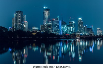 Witness the Austin Skyline like never before with beautiful reflections and a more darker approach to the night time scenery.