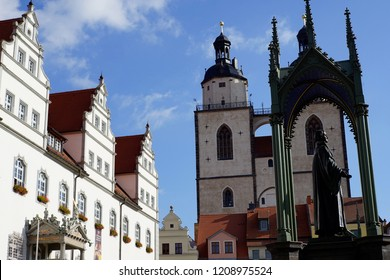 Wittenberg Colorful Market Square, Rathaus, City Church,Martin Luther Statue  Lutherstadt Wittenberg Germany