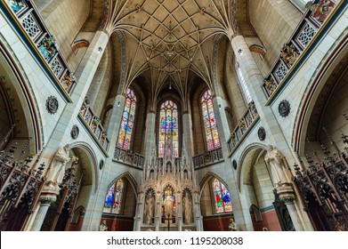 Wittenberg / Germany - February 26 2017: Interior of All Saints' Church or Schlosskirche (Castle Church) in Wittenberg, where the Ninety-five Theses were posted by Martin Luther in 1517. Protestantism