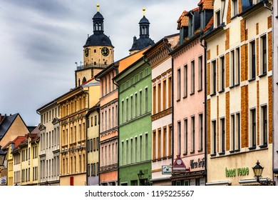 Wittenberg / Germany - February 26th 2017: Colorful facades of buildings in Lutherstadt Wittenberg, a town in Saxony-Anhalt, Germany, where Martin Luther started the Protestant Reformation in 1517.