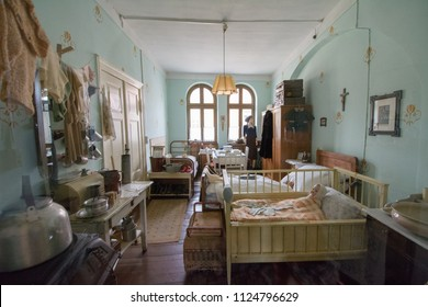 Wittenberg / Germany - July 29, 2017 : The exhibition room in DDR museum shows how poor people in East Germany decorated their apartment with all functions in one room.