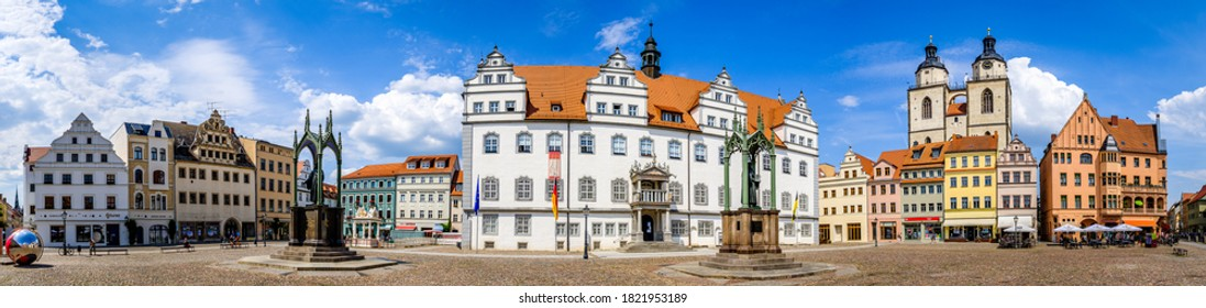 Wittenberg, Germany - June 17: famous old town with historic buildings in Wittenberg on June 17, 2020
