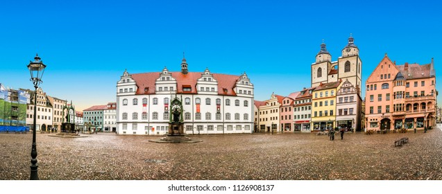WITTENBERG, GERMANY - MAR 25, 2016: The Main Square of Luther City Wittenberg in Germany. Wittenberg is UNESCO World Heritage Site.