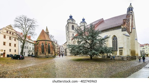 WITTENBERG, GERMANY - MAR 25, 2016: city church of Luther City Wittenberg in Germany. Wittenberg is UNESCO World Heritage Site.