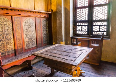 WITTENBERG, GERMANY - MARCH 18, 2018 Table Meeting Place Martin Luther House Lutherstadt Wittenberg Germany.  Table where Martin Luther would debate religious issues with various religious leaders.