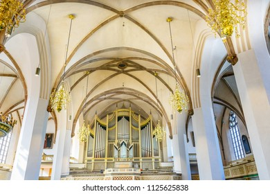 WITTENBERG, GERMANY - MARCH 18, 2018 Organ Saint Mary's City Church Stadtkirche Lutherstadt Wittenberg Germany. Martin Luther's church. Founded in 1187, restored in 1900s.