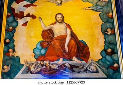 WITTENBERG, GERMANY - MARCH 18, 2018 Cranach Christ Hell Altarpiece Painting Saint Mary's City Church Stadtkirche Lutherstadt Wittenberg Germany. Martin Luther's church. Cranach Elder Installed 15002