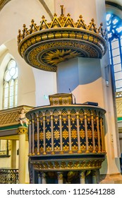 WITTENBERG, GERMANY - MARCH 18, 2018 Pulpit Saint Mary's City Church Stadtkirche Lutherstadt Wittenberg Germany. Martin Luther's church. Founded in 1187, restored in 1900s.