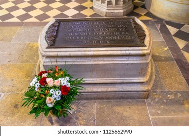 WITTENBERG, GERMANY - MARCH 18, 2018 Martin Luther's Grave All Saints Castle Castle Church Schlosskirche Lutherstadt Wittenberg Germany. Where Luther posted 95 thesis 1517 Protestant Reformation
