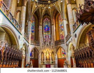 WITTENBERG, GERMANY - MARCH 18, 2018 Choir Stall, All Saints Castle Castle Church Schlosskirche Lutherstadt Wittenberg Germany. Where Luther posted 95 thesis 1517 starting Protestant Reformation.