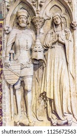 WITTENBERG, GERMANY - MARCH 18, 2018 King Queen Statue All Saints Castle Castle Church Schlosskirche Lutherstadt Wittenberg Germany. Where Luther posted 95 thesis 1517 Protestant Reformation.