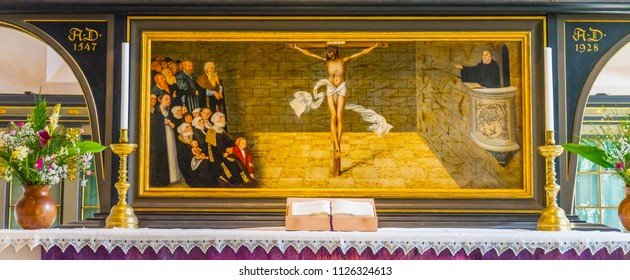 WITTENBERG, GERMANY - MARCH 18, 2018 Martin Luther Christ Altarpiece Saint Mary's City Church Stadtkirche Lutherstadt Wittenberg Germany. Cranach Elder altarpiece 1547
