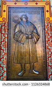 WITTENBERG, GERMANY - MARCH 18, 2018 Martin Luther Bronze All Saints Castle Castle Church Schlosskirche Lutherstadt Wittenberg Germany. Luther posted 95 thesis 1517 starting Protestant Reformation