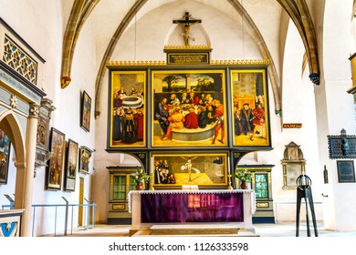WITTENBERG, GERMANY - MARCH 18, 2018 Saint Mary's City Church Stadtkirche Lutherstadt Wittenberg Germany. Martin Luther's church. Founded in 1187. Last Supper Painting Cranach Elder Installed 1547.