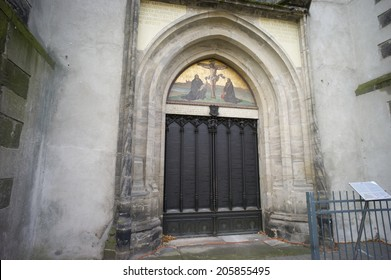 Wittenberg, Germany - Nov 4: the All saint's church where Martin Luther nailed the ninety-five theses on the door and sparked the reformation in Wittenberg, Germany on November 4 2013.
